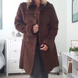 Roxy long faux suede jacket